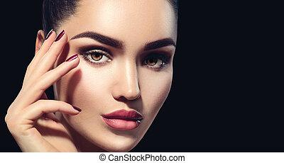 makijaż, doskonały, tło., kobieta, profesjonalny, odizolowany, brunetka, czarnoskóry, święto, charakteryzacja, piękno