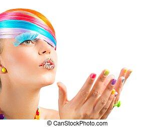 makijaż, fason, barwny