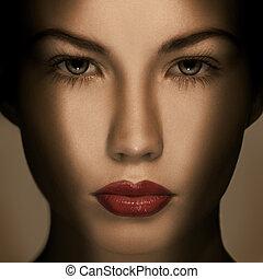 makijaż, luksus, fason, piękny