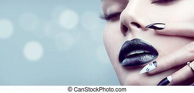 makijaż, manicure, dziewczyna, czarnoskóry, gotyk, wzór, fason
