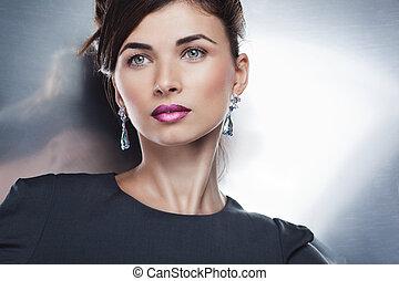 makijaż, profesjonalny, przedstawianie, fason, piękny, portret, wzór, jewelry., fryzura, blask, wyłączny