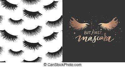 makijaż, zacytować, bicze, tusz do rzęs, pattern., komplet, o, fason, złoty, wektor, seamless