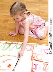malarstwo, dziewczyna, mały, posiedzenie dość, podłoga