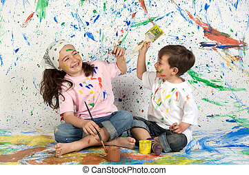 malarstwo, grający dziećmi