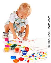 malarstwo, paint., palec, dziecko