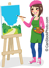 malarstwo, park, artysta