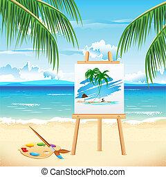 malarstwo, plaża, morze