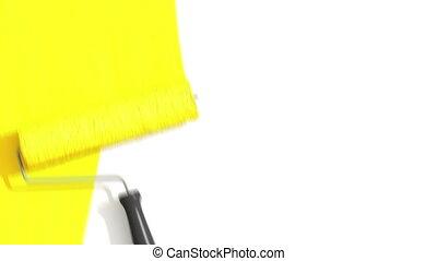 malarstwo, wałek, żółty, color.
