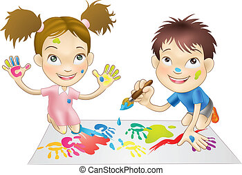 malatura, interpretacja, dzieci, młody, dwa