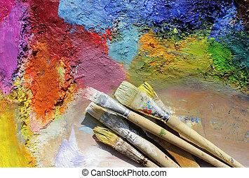 malatura, paleta, nafta, szczotki, malować