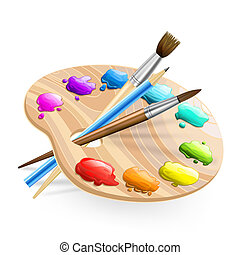 malatura, szczotki, wirh, sztuka, paleta, ołówek