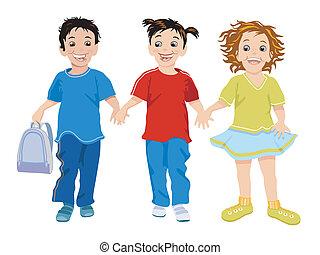 mali dzieci, trzy, szczęśliwy