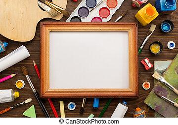 malować, drewno, szczotka, zaopatruje