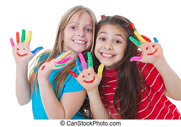 malować, dzieciaki, interpretacja, szczęśliwy
