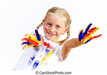 malować, dziecko, szczęśliwy, siła robocza