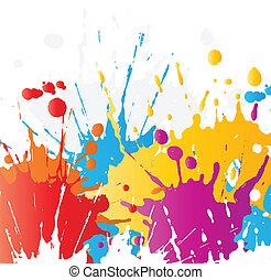 malować, grunge, splats