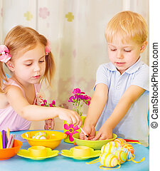 malować, jaja, dzieciaki, wielkanoc