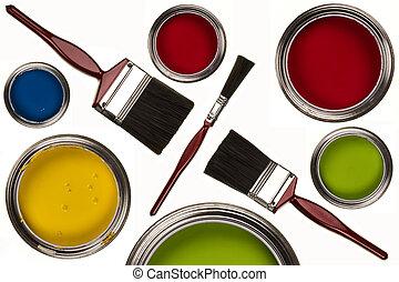 malować, -, paintbrushes, odizolowany, emulsja
