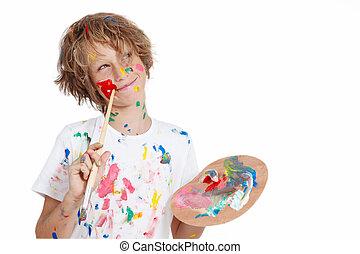 malować, planowanie, psota, szczotka, dziecko
