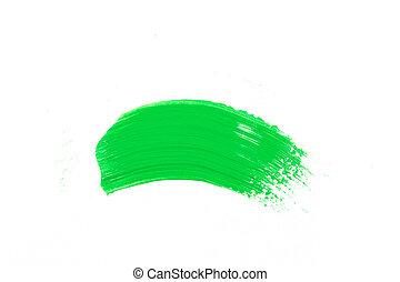 malować, uderzenie, zielony, szczotka