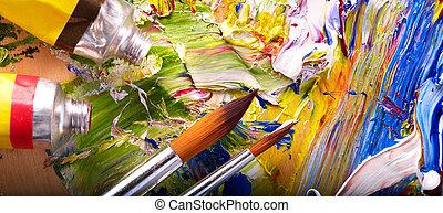 malować, zamknięcie, mieszany, palette., do góry