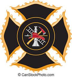 maltańczyk, symbol, firefighter, krzyż