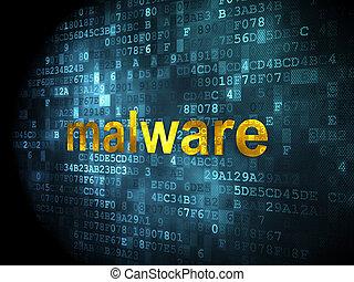 malware, concept:, bezpieczeństwo, tło, cyfrowy