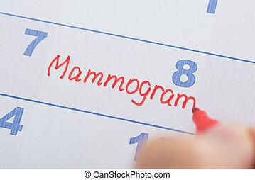 mammogram, ręka, cale, pisemny