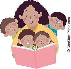 mamusia, książka, afrykanin, storytelling, dzieciaki, nauczyciel