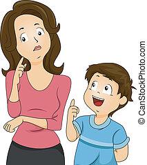 mamusia, pytania, syn