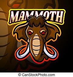 mamut, logo, projektować, esport, maskotka