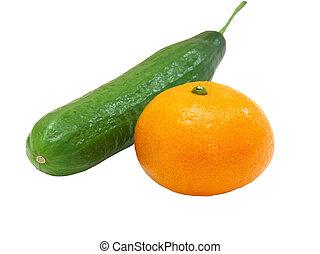 mandarynka, świeży, ogórek, zielony