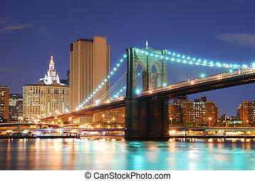 manhattan most, miasto, york, nowy, brooklyn