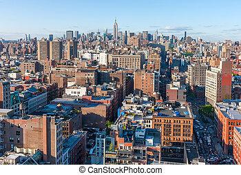 manhattan, ulica, drapacze chmur, prospekt, sylwetka na tle nieba, antena, miasto, york, nowy