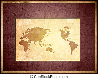 map-vintage, twój, dzieło, świat