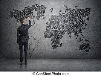 mapa, ściana, konkretny, świat, biznesmen, rysunek