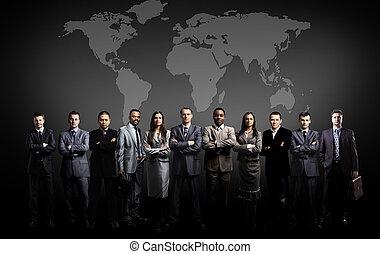 mapa, świat, drużyna, handlowy zaludniają