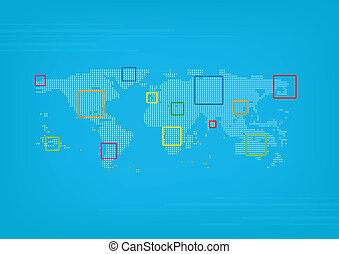 mapa, świat, ponts