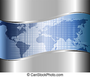 mapa, świat, tło, metaliczny