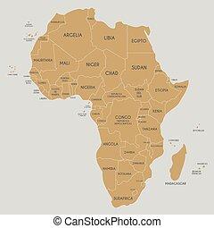 mapa, afryka, polityczny, ilustracja, naklejona etykietka, wektor, nazwiska, spanish., kraj, editable, layers., jasno
