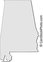 mapa, alabama, states), (united