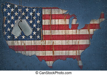 mapa, amerykańska bandera