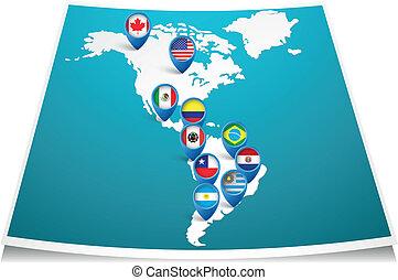 mapa, amerykańska bandera, szpilka