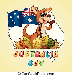 mapa, australia, dzierżawa, kangur, bandera, tło, dzień, szczęśliwy