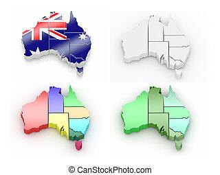 mapa, australia, trójwymiarowy
