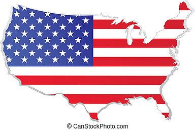 mapa, bandera, usa