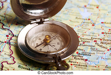 mapa, busola, stary