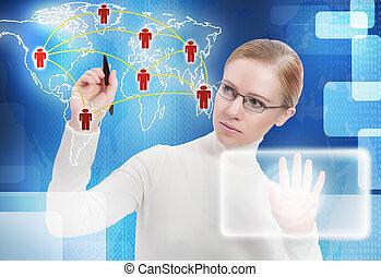 mapa, dookoła, handlowy zaludniają, concept., komunikacja, połączenie, przyszłość, ogniwo, świat