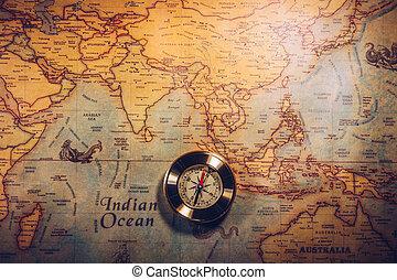 mapa, dzień columbus, świat, busola