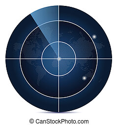 mapa, ekran, świat, radar